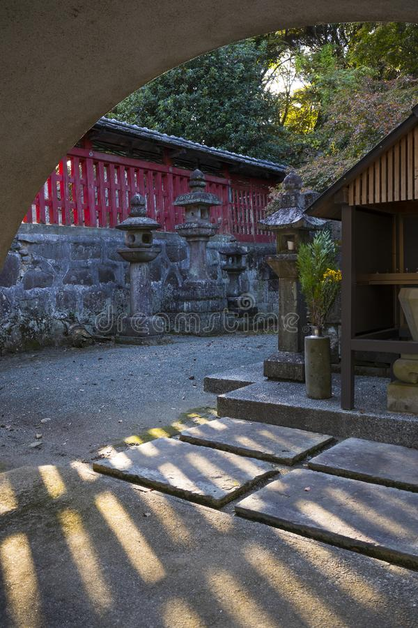 View to the grounds of the Honmyo-ji Temple, a Buddhist temple of the Nichiren sect royalty free stock photos