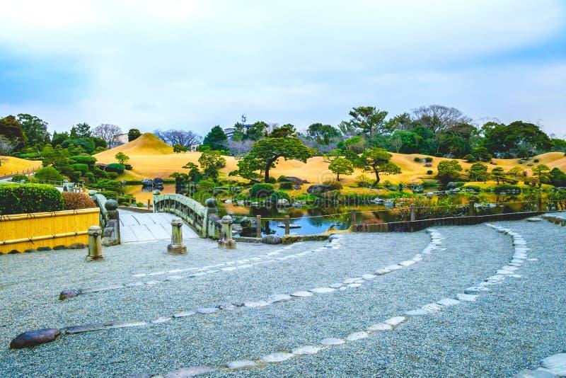 Kumamoto, Japon 13 janvier : Parc de Suizenji le soir dans Kumamoto photographie stock libre de droits