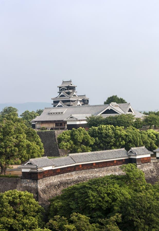 Kumamoto slott i Kyushu, Japan arkivbilder