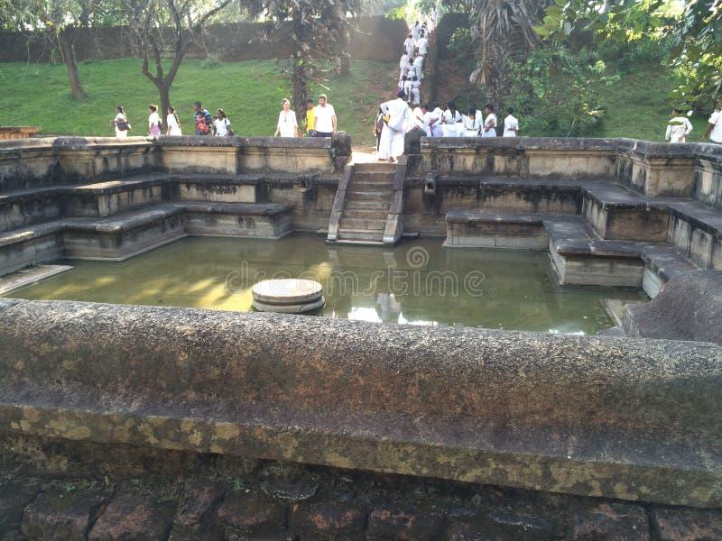 Kumara pokunapond in polonnaruwa, Sri Lanka stock afbeelding