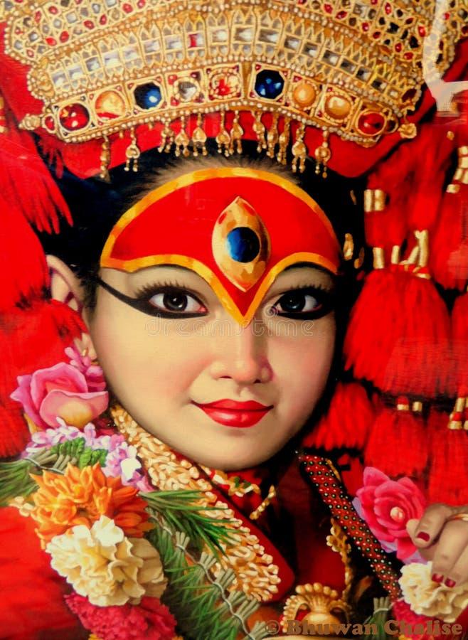 Kumari生存女神在尼泊尔 库存照片