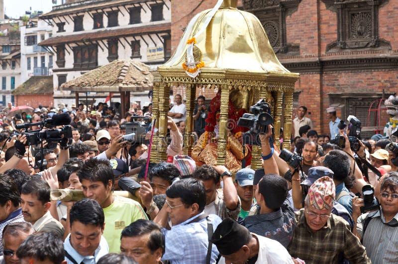 Kumari em Kathmandu Nepal fotos de stock royalty free