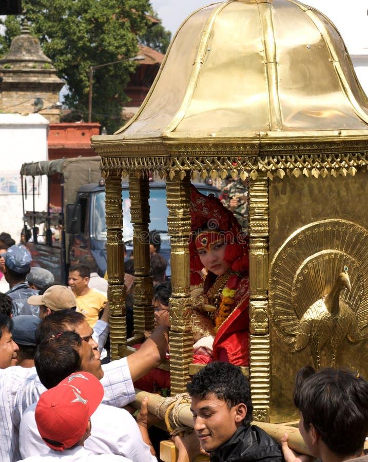 Kumari en Katmandu imágenes de archivo libres de regalías