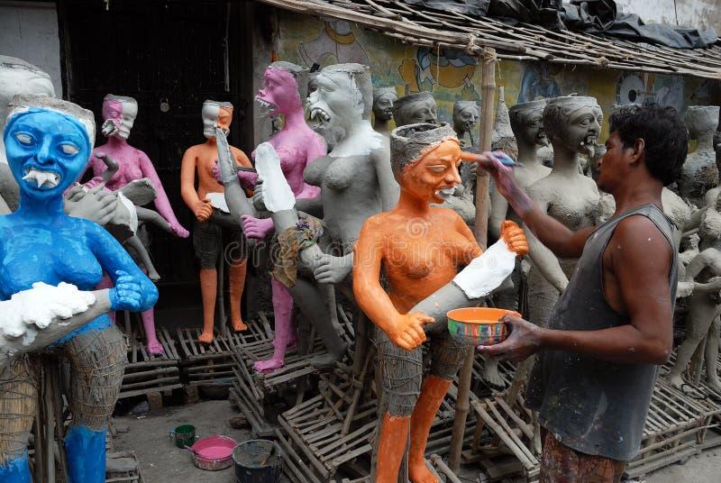 Kumartuli-Idolo che fa aria immagine stock libera da diritti