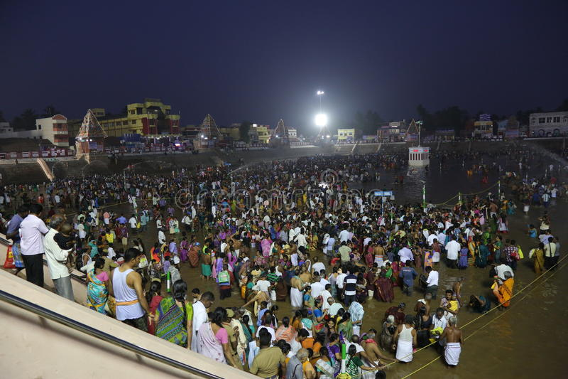 kumbakonam het festival van Maha magam stock afbeeldingen