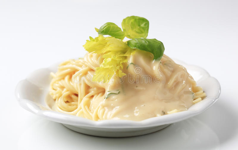kumberlandu śmietankowy spaghetti fotografia royalty free