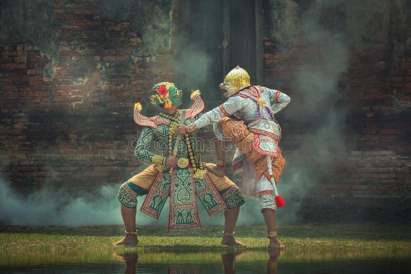 Kumbhakarna面具Ramayana故事艺术文化泰国跳舞 免版税库存照片