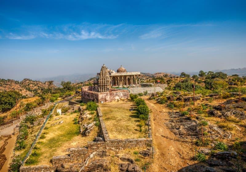 Kumbhalgarh fort i Rajasthan, Indien royaltyfria bilder