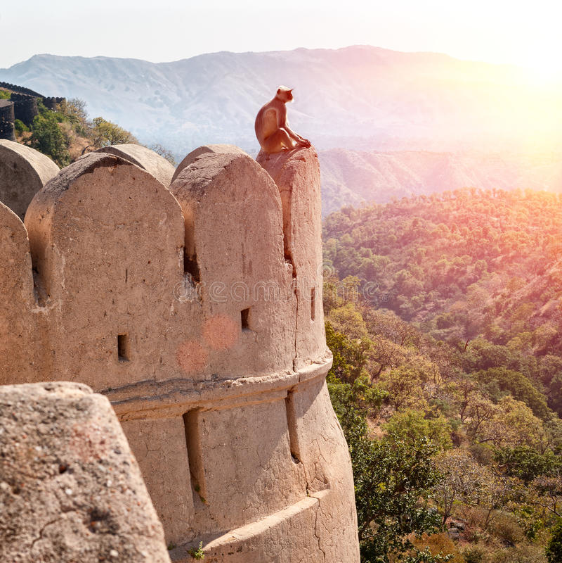 Kumbhalgarh fort, Rajasthan, Indien royaltyfri fotografi