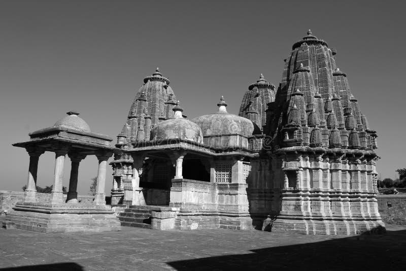 Kumbhalgarh monokrom shivtempel, Rajasthan, Indien arkivfoto