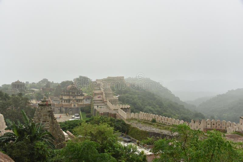 Kumbhalgarhfort en monumenten, Rajasthan stock foto's