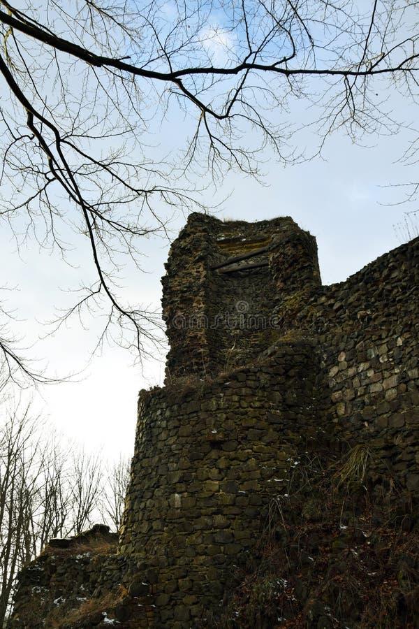 Kumburk - Castle Ruin in Winter. Bohemian Paradise in Czech republic royalty free stock photos