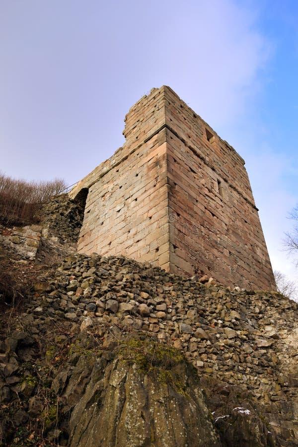 Kumburk - Castle Ruin in Winter. Bohemian Paradise in Czech republic stock image