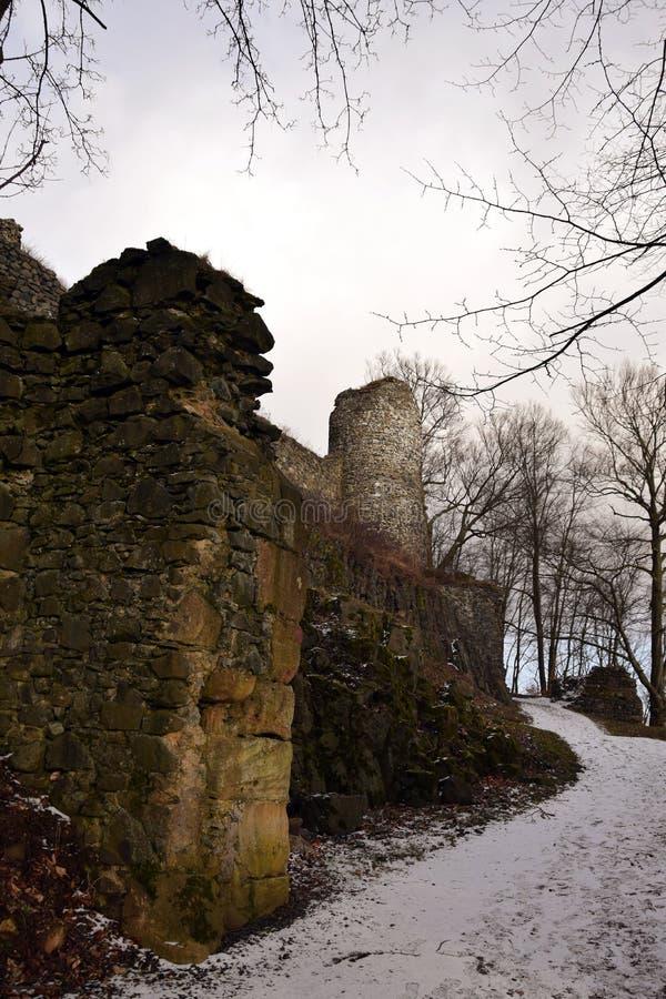 Kumburk - Castle Ruin in Winter. Bohemian Paradise in Czech republic stock photography