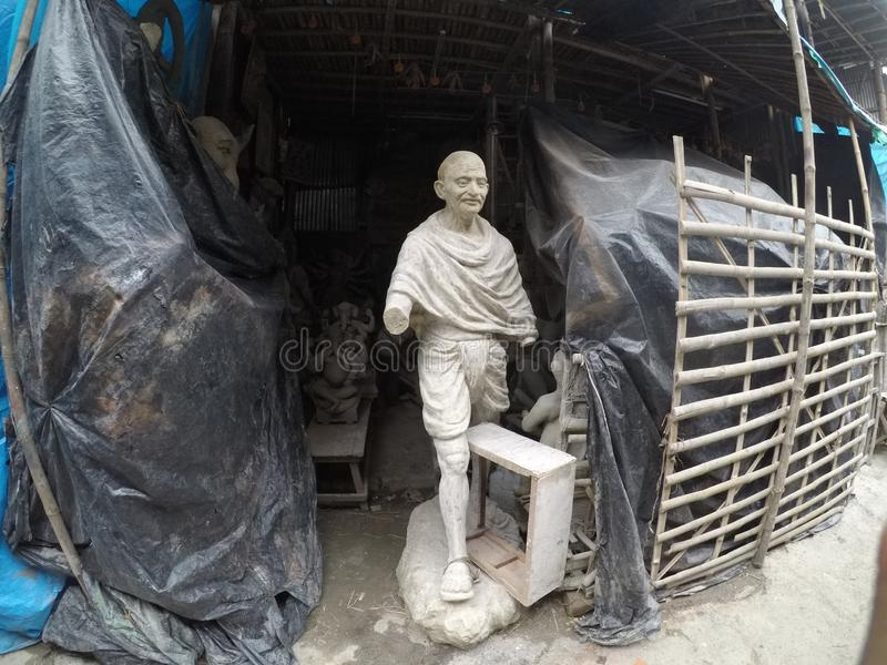 Kumortuli where major art and craft making happens for Daserra festival in kolkata. Kumortuli is officially known as porters quarter in Kolkata, where thousands royalty free stock photography
