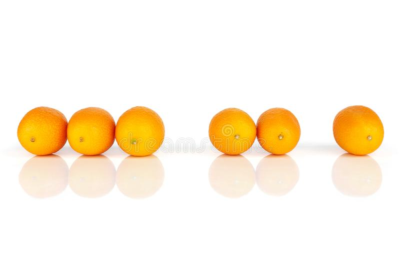 Kumquat alaranjado fresco isolado no branco imagens de stock royalty free