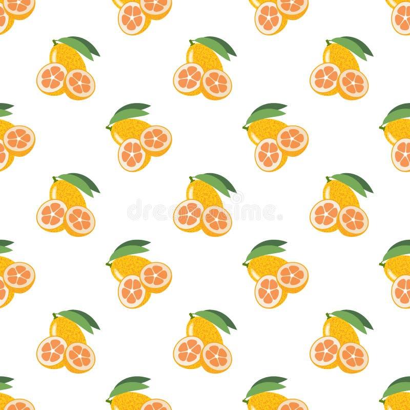 Kumquat colorido inconsútil de la fruta tropical de la imagen de fondo stock de ilustración