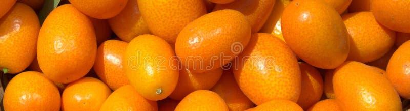 Kumquats juteux frais dans un panier sur le marché Fond orange des oranges fraîches closeup image libre de droits