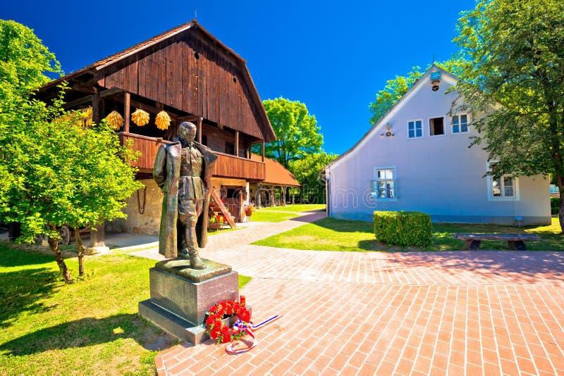 Kumrovec picturesque village in Zagorje region of Croatia. Statue of Josip Broz Tito, former leader of Yugoslavia in his birth village stock photography