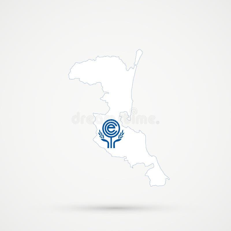 Kumykia Kumyks etnicznego terytorium, Dagestan mapa w współpraca gospodarcza organizacji ECO flagi kolorach, editable wektor royalty ilustracja