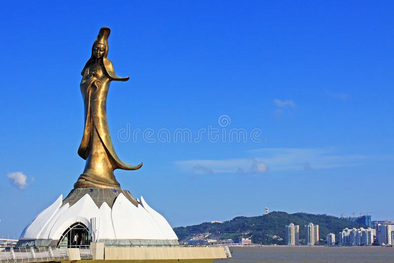 Kun Iam Statue, Macau, China. Depicting the Buddhist Goddess of Mercy. Along with A-ma Tin Hau she is one of the primary traditional gods worshiped in Macau royalty free stock image