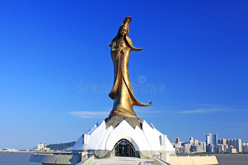 Kun Iam Statue, Macau, China. Depicting the Buddhist Goddess of Mercy. Along with A-ma Tin Hau she is one of the primary traditional gods worshiped in Macau stock photography