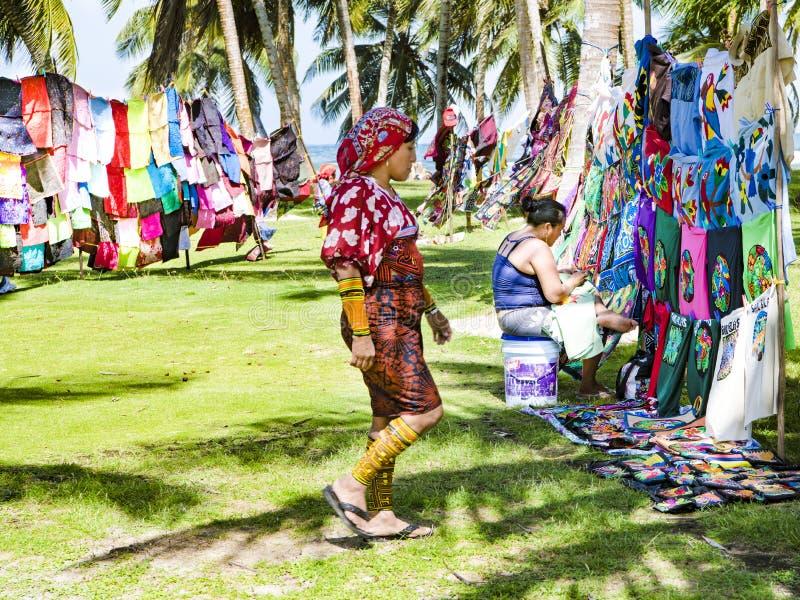 Kuna women, Panama, with traditional art works - Molas royalty free stock photo