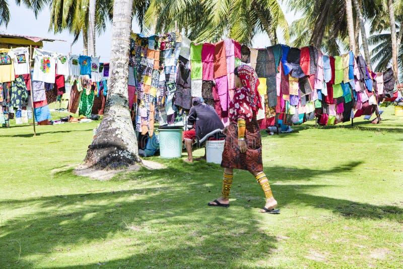 Kuna women, Panama with traditional art works - Molas royalty free stock photography