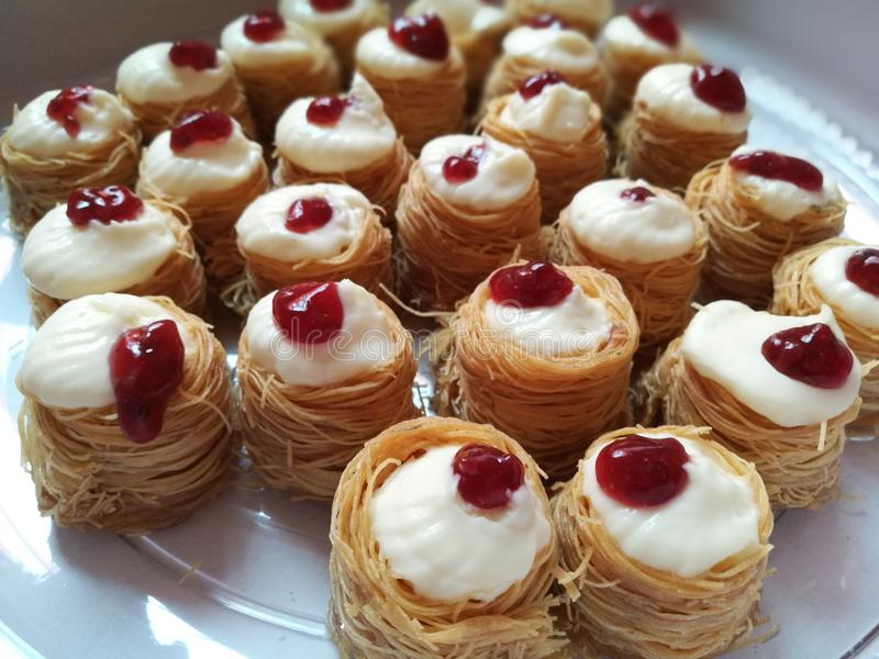 Kunafa cheesecake royalty free stock photo