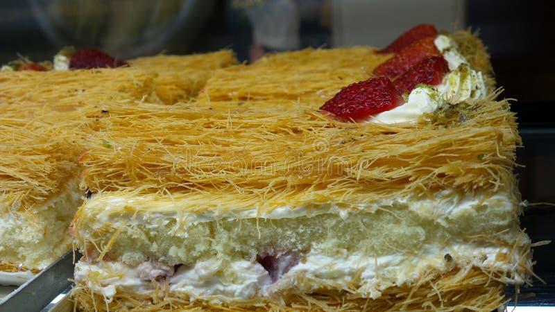 Kunafa strawberry cake royalty free stock photography