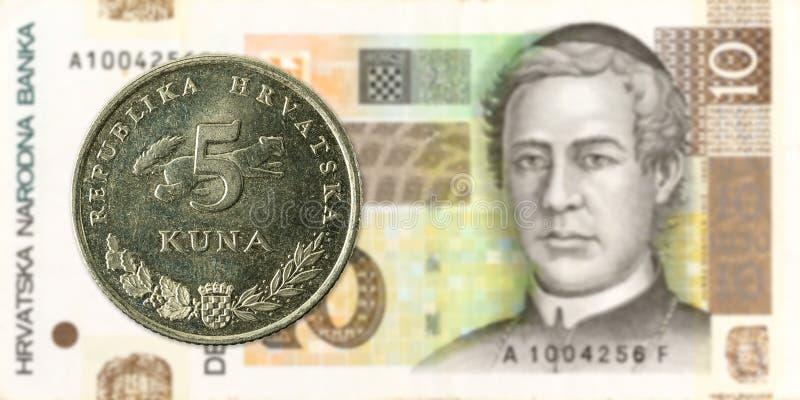 kunamynt för 5 kroat mot kunasedel för 10 kroat royaltyfri foto