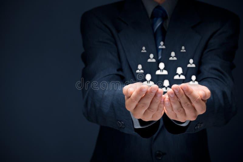Kund- eller anställdomsorgbegrepp royaltyfri fotografi