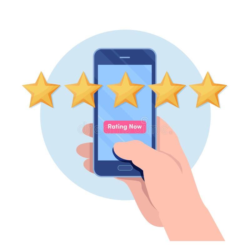 Kund som ger värdering för fem stjärna vid smartphoneapplikation Snirkel för granskning för användareåterkoppling Tecknad filmill royaltyfri illustrationer