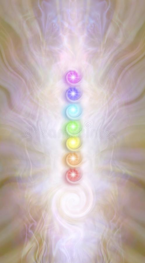 Kundalini stack of spiralling Chakras. Against a pink gold radiating ethereal energy field seven rainbow coloured vortexing chakras above a kundalini spiral stock illustration
