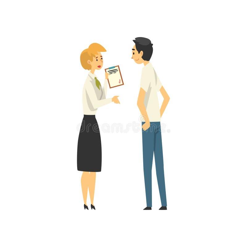 Kunde, der am Manager im Bank-Büro, weibliche Bank-Arbeitskraft erbringt Dienstleistungen männlicher Kunden-Vektor-Illustration s vektor abbildung
