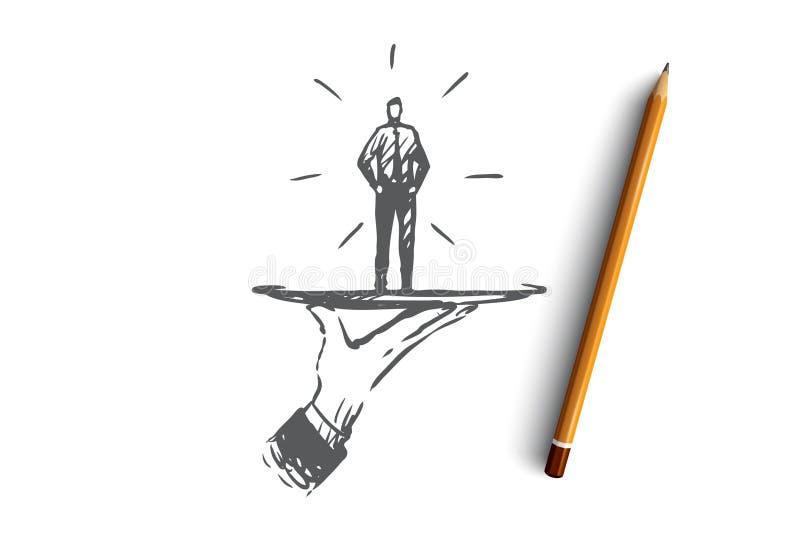 Kunde, Geschäft, Service, Hilfe, Kundenkonzept Hand gezeichneter lokalisierter Vektor lizenzfreie abbildung