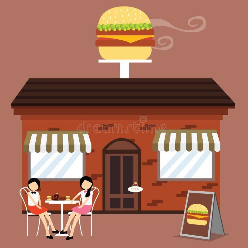 Kunde vor Burgershopschnellrestaurant genießen Mahlzeitkaffee mit Freunden vektor abbildung