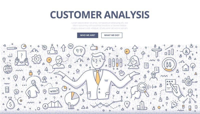 Kunden-Analyse-Gekritzel-Fahne vektor abbildung