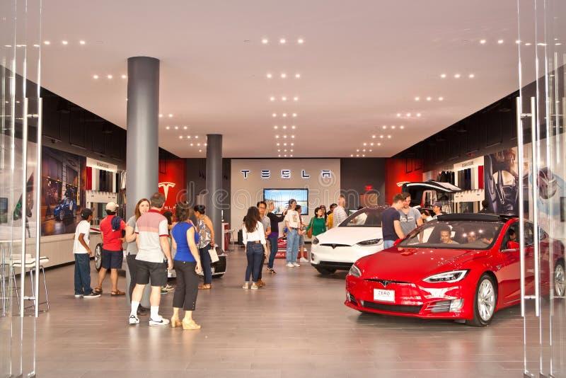Kunden besichtigen einen Tesla-Bewegungsspeicher lizenzfreie stockbilder