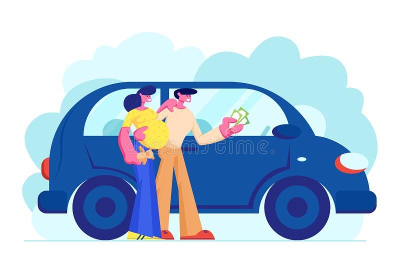 Kunden, die das Automobil hält Geld in den Händen kaufen Junge Familien-Paare von Mann-und schwangere Frauen-Charakteren kaufen N stock abbildung