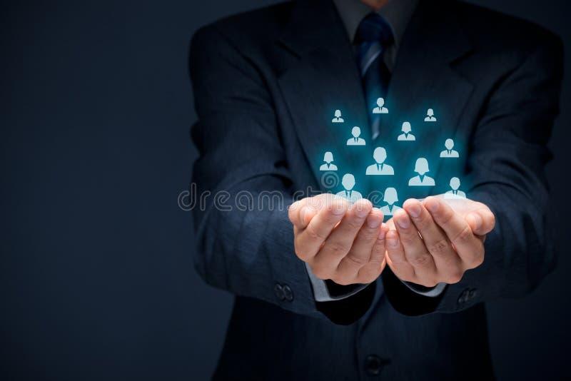Kunden eller anställda att bry sig begrepp arkivfoton