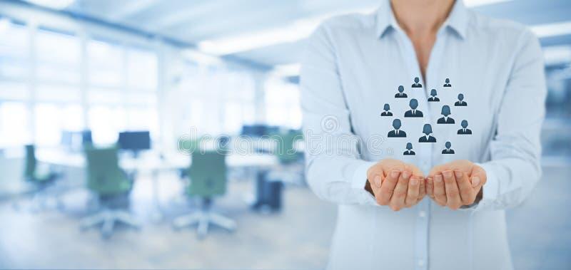 Kunden eller anställda att bry sig begrepp arkivbild