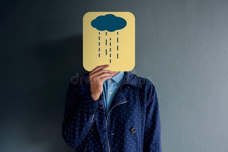 Kunden-Erfahrungs-Konzept, Porträt des Kunden mit Traurigkeits-Gebühr stockfoto