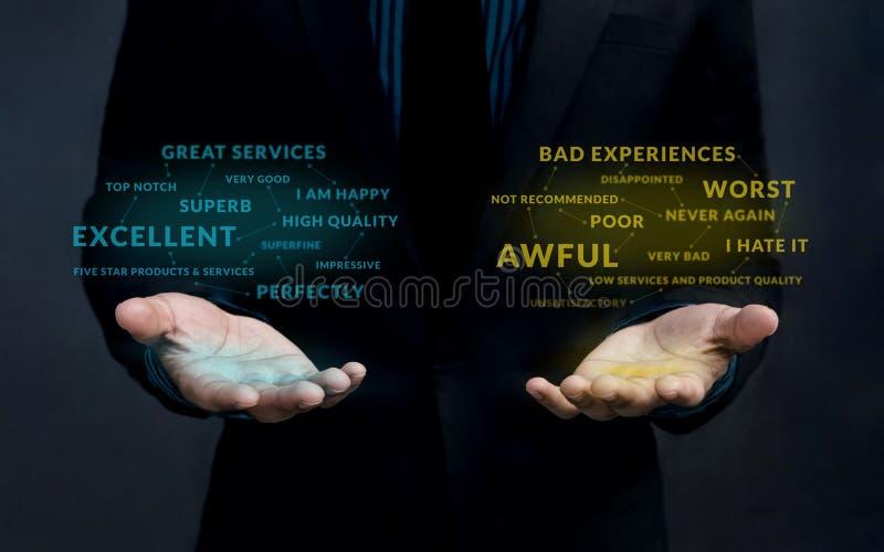 Kunden-Erfahrungs-Strategie-Konzept Positives und negatives Onli stockfotografie