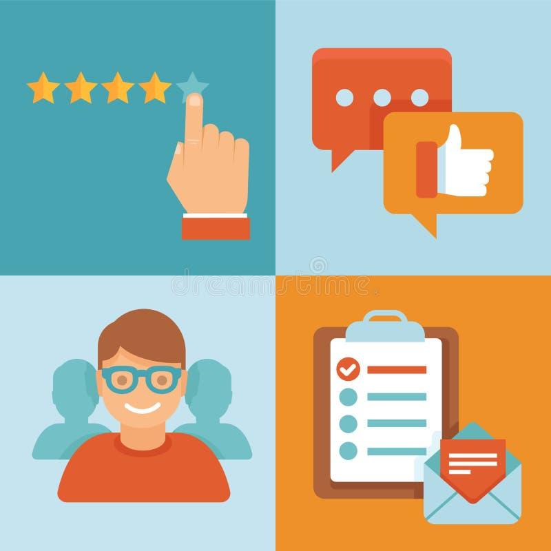 Kunden-Erfahrungskonzepte des Vektors flache stock abbildung