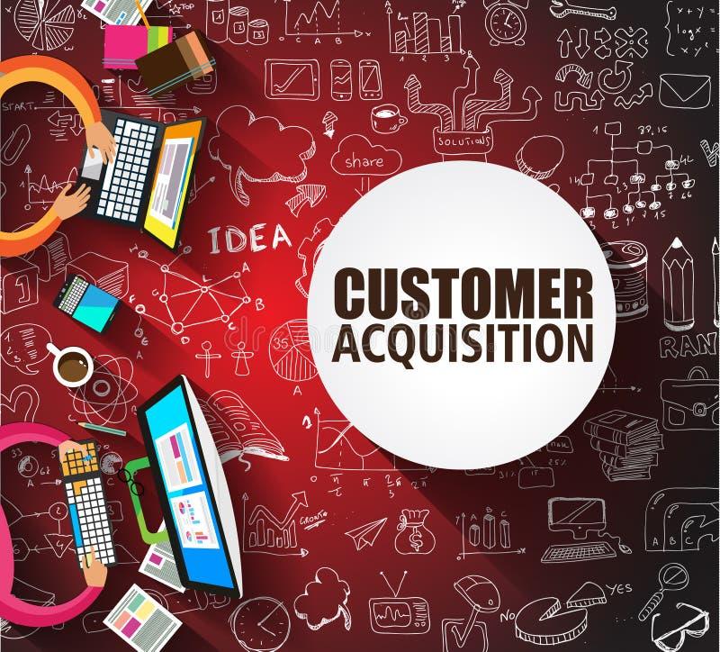 Kunden-Erwerbskonzept mit Gekritzeldesignart lizenzfreie abbildung