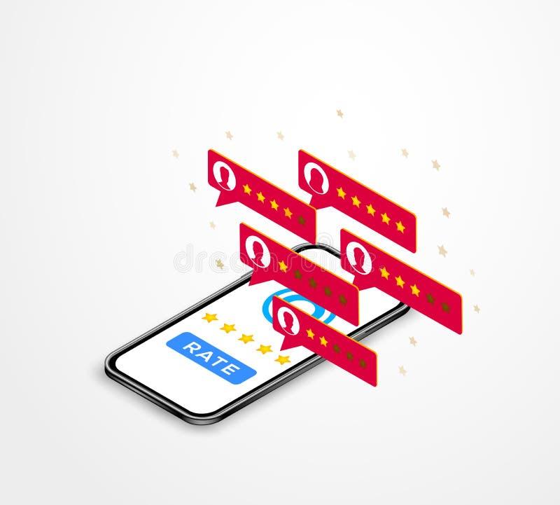 Kunden granskar isometriskt begrepp Online-stjärnavärdering för granskning 5 på den isometriska mobiltelefonen, klienttillfredsst stock illustrationer