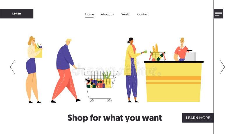 Kunden stehen in der Linie am Lebensmittelgeschäft, oder Supermarkt-Drehung mit Waren in der Einkaufslaufkatze setzte Käufe auf K lizenzfreie abbildung