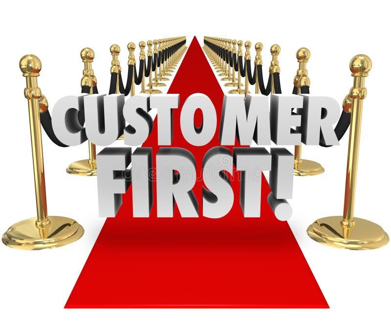 Kunden uttrycker först för högsta prioritetklient för röd matta service royaltyfri illustrationer