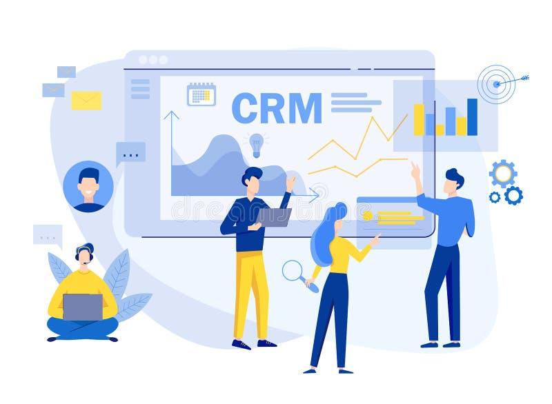 Kunden-Verh?ltnis-Managementkonzepthintergrund CRM-Vektorillustration Firmenstrategie-Planung Kommerzielle Daten vektor abbildung